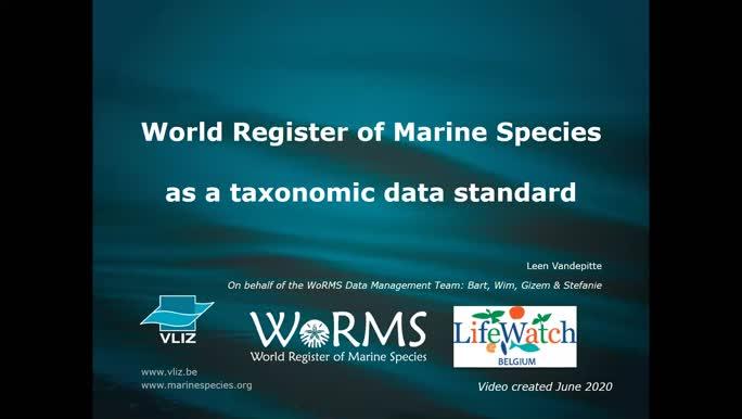WoRMS as a data standard (June 2020)