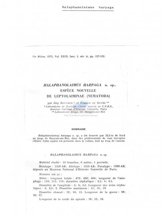 Halaphanolaimus harpaga